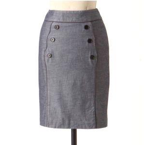 Idra Anthropologie Gray Button Front Scallop Skirt